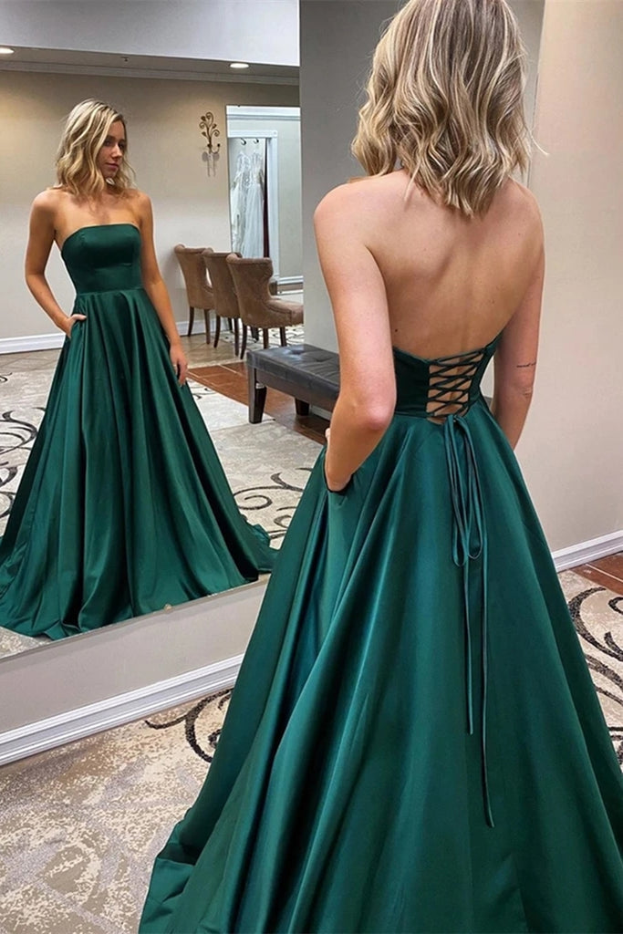 Strapless Backless Emerald Green Long Prom Dress, Backless Emerald Green Formal Graduation Evening Dress