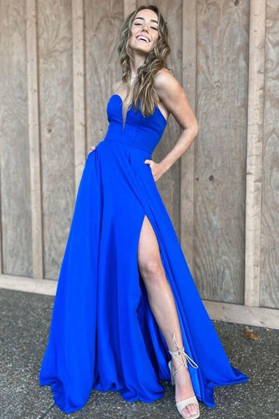 Strapless Backless Long Blue Prom Dress with Slit, Blue Formal Graduation Evening Dress