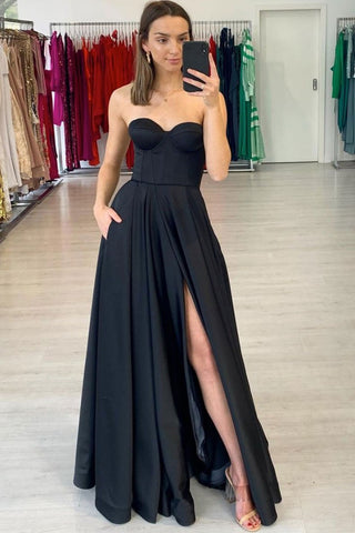 Strapless Black Satin Long Prom Dress with Side Slit, Long Black Formal Evening Dress