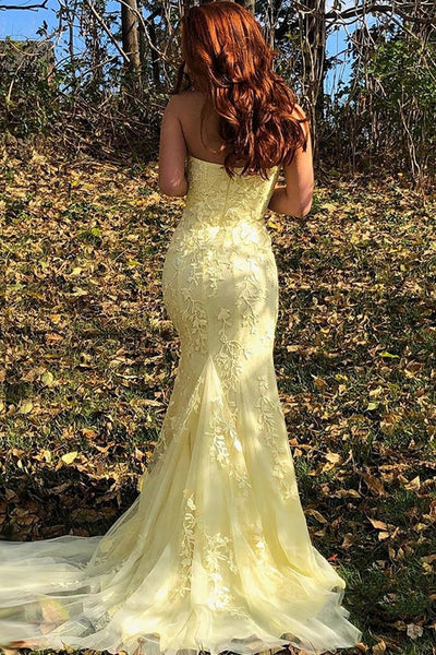 Strapless Mermaid Yellow/Pink/Purple Lace Prom Dresses, Yellow/Pink/Purple Lace Mermaid Formal Evening Dresses