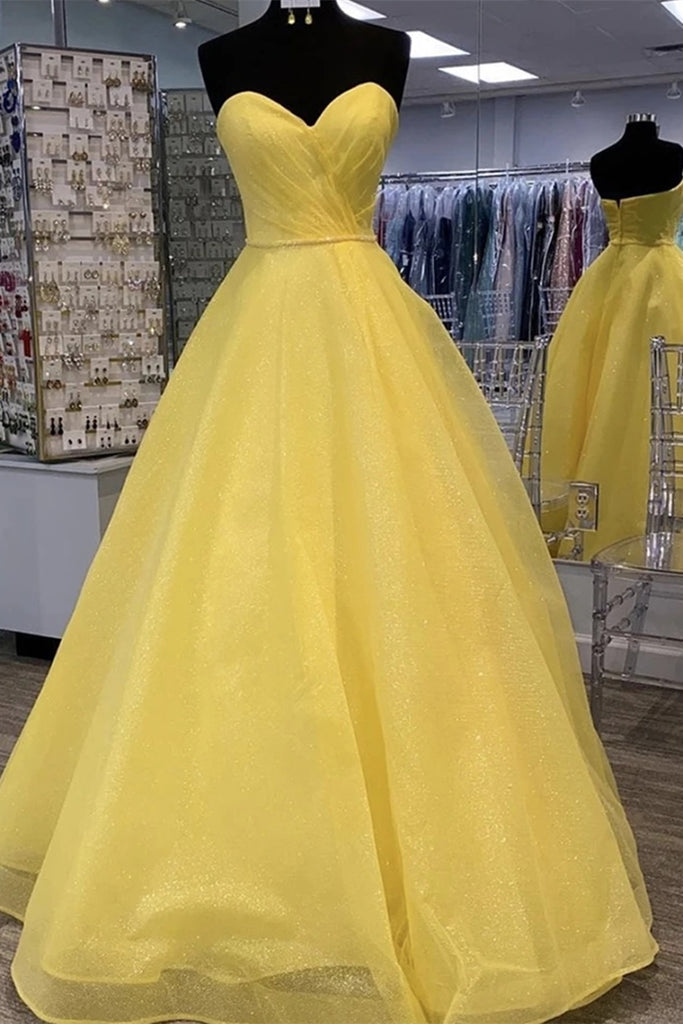 Strapless Open Back Sequins Yellow Prom Dress, Shiny Yellow Formal Graduation Evening Dress
