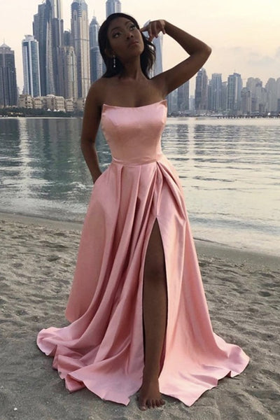 Strapless Pink Satin Long Prom Dress with High Slit, Simple Pink Formal Graduation Evening Dress