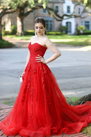 Strapless Red Lace Long Prom Dress with Train, Long Red Lace Formal Evening Dress