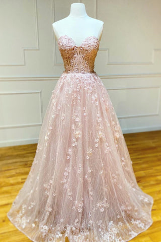 Strapless Sweetheart Neck Pink Lace Long Prom Dress, Pink Lace Formal Graduation Evening Dress