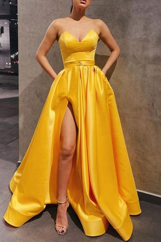 Strapless Sweetheart Neck Yellow Satin Long Prom Dress, Long Yellow Formal Graduation Evening Dress with Slit