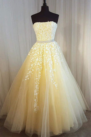 Strapless Yellow Lace Long Prom Dress, Yellow Lace Formal Graduation Evening Dress, Yellow Ball Gown