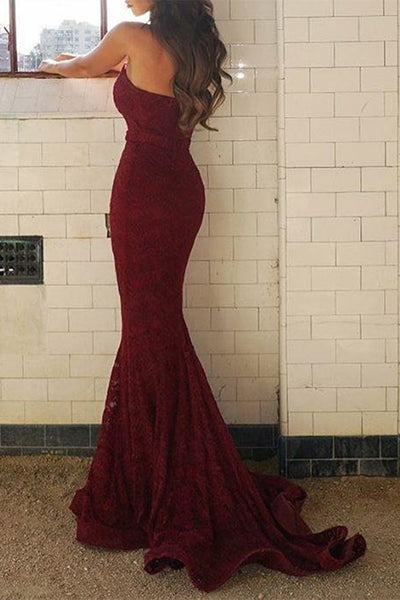 Strapless Mermaid Burgundy Lace Long Prom Dress, Mermaid Lace Burgundy Formal Dress, Burgundy Lace Evening Dress