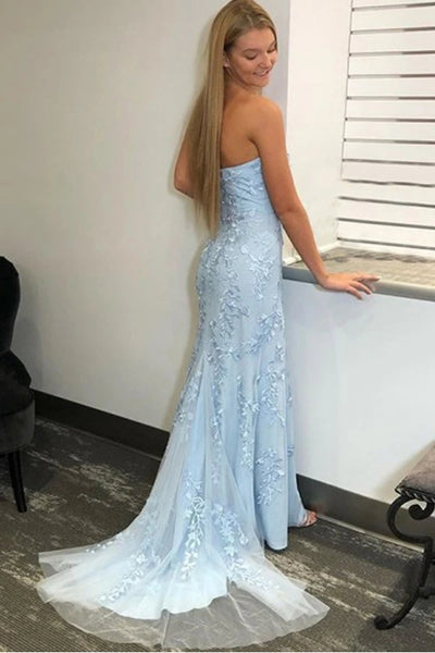 Strapless Mermaid Light Blue Lace Prom Dress with Split, Light Blue Lace Mermaid Formal Dress, Light Blue Lace Evening Dress