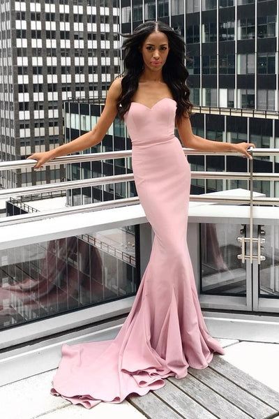 Strapless Mermaid Pink Long Prom Dress with Train, Mermaid Pink Formal Dress, Pink Evening Dress