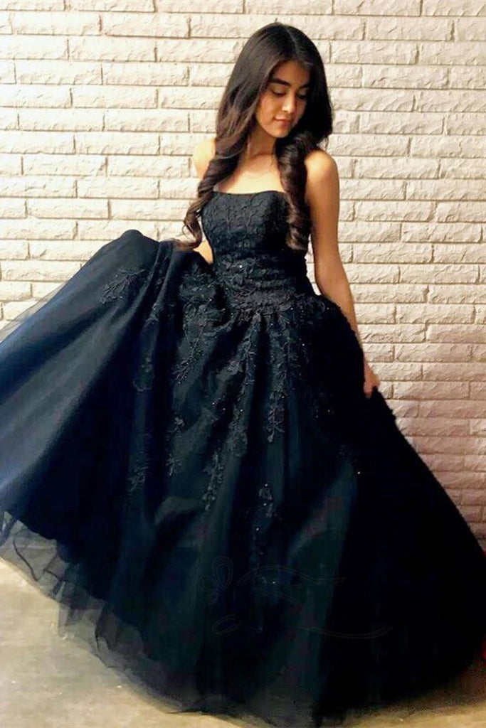 Strapless Open Back Black Lace Long Prom Dress, Backless Black Lace Formal Dress, Black Lace Evening Dress