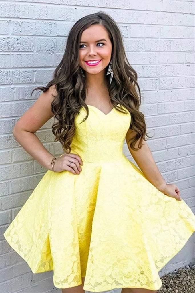 Strapless Yellow Lace Short Prom Dress Homecoming Dress, Lace Yellow Formal Graduation Evening Dress