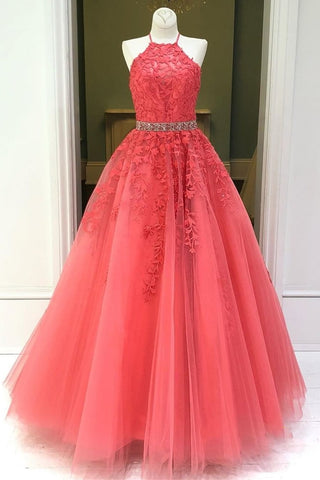 Stylish Backless Coral Lace Long Prom Dress, Coral Lace Formal Graduation Evening Dress