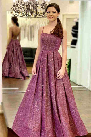 Stylish Backless Purple Sequins Long Prom Dress, Purple Long Formal Evening Dresses