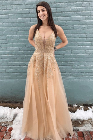 Stylish Deep V Neck Champagne Lace Long Prom Dress, Champagne Lace Formal Evening Dress