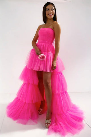 Stylish High Low Hot Pink Tulle Layered Long Prom Dress, Hot Pink Formal Evening Dress