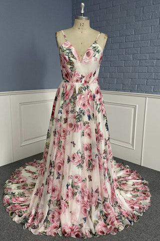 Stylish V Neck Backless Floral Pattern Long Prom Dress, V Neck Floral Pattern Formal Evening Dress
