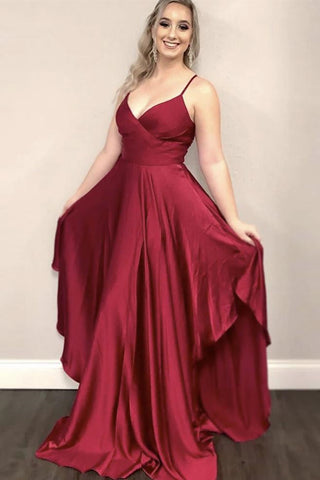 Stylish V Neck Burgundy Satin Long Prom Dress, V Neck Burgundy Formal Dress, Burgundy Evening Dress