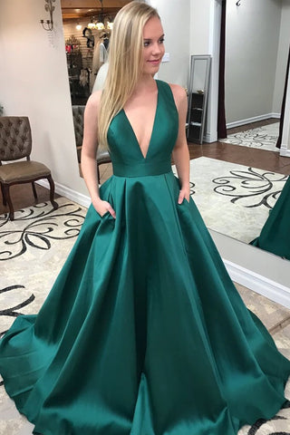 Stylish V Neck Green Satin Long Prom Dress with Pocket, Open Back Green Formal Evening Dress