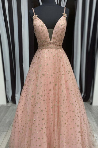 Stylish V Neck Pink Long Prom Dress with Stars Sequins, Long Pink Formal Evening Dress