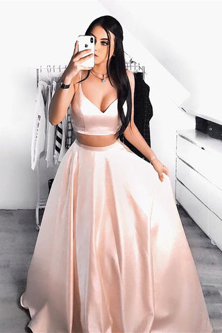 Stylish A Line V Neck Two Pieces Pink Prom Dress, Simple V Neck 2 Pieces Pink Formal Graduation Evening Dress