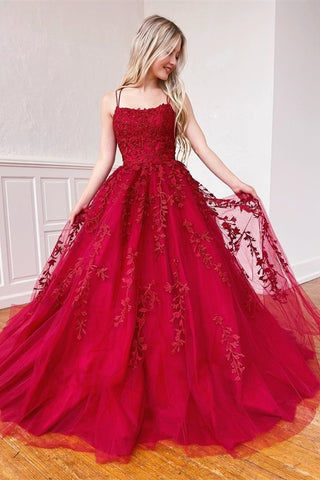 Stylish Burgundy Lace Long Prom Dress 2020, Long Burgundy Lace Formal Graduation Evening Dress