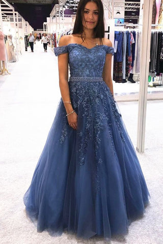 Stylish Off Shoulder Blue Lace Long Prom Dress 2020, Off the Shoulder Blue Formal Dress, Blue Lace Evening Dress