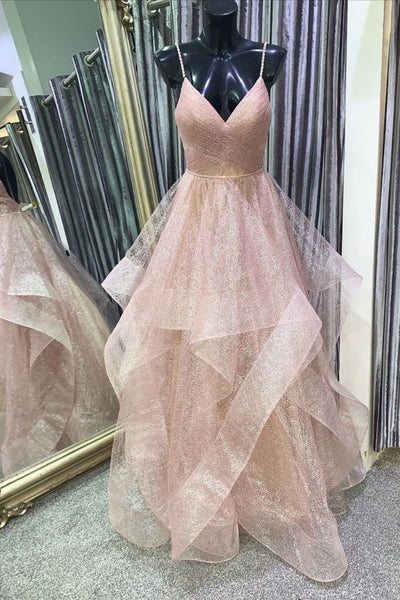 Stylish V Neck Backless Rose Gold Long Prom Dress, Backless Rose Gold Formal Dress, Fluffy Rose Gold Evening Dress