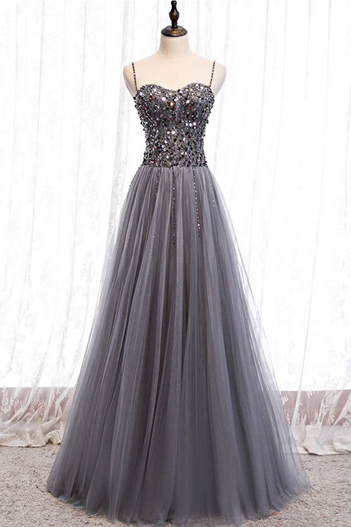 Sweetheart Neck Grey Sequins Tulle Long Prom Dress, Grey Sequins Formal Evening Dress