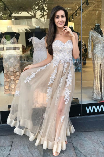 Sweetheart Neck Strapless Ivory Lace Appliques Champagne Prom Dress, Champagne Lace Formal Dress, Champagne Evening Dress