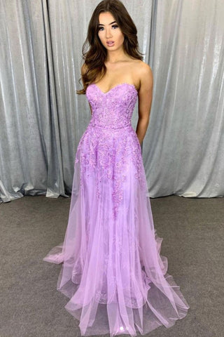 Sweetheart Neck Strapless Purple Lace Long Prom Dress, Long Purple Lace Formal Graduation Evening Dress