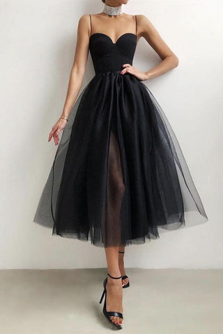 Sweetheart Neck Thin Straps Black/White Tea Length Prom Dress, Black/White Formal Evening Homecoming Dress with Slit