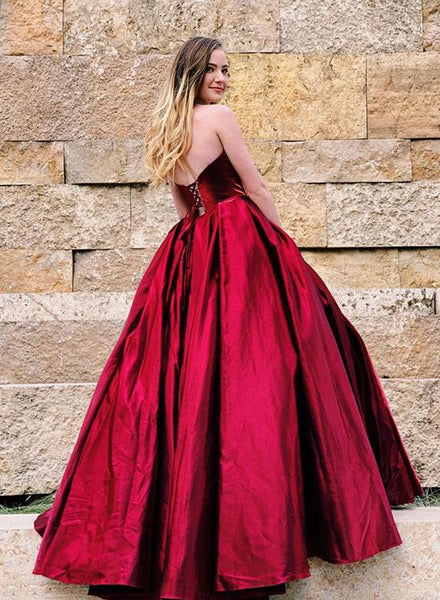 Sweetheart Neck Backless Burgundy Satin Long Prom Dress, Burgundy Ball Gown, Burgundy Formal Dress