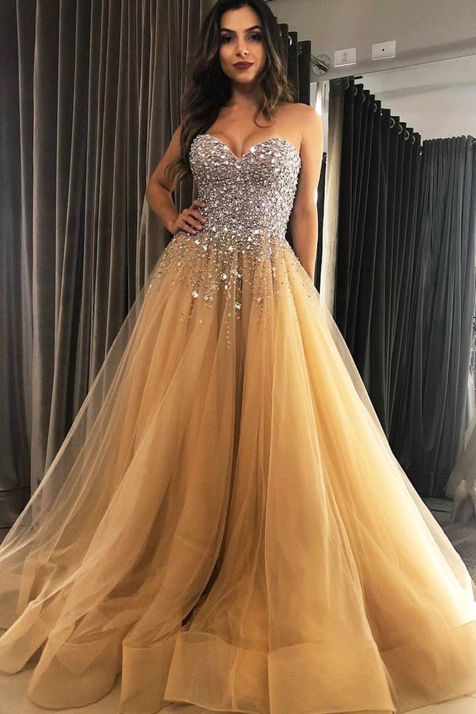Sweetheart Neck Sequins Beaded Champagne Long Prom Dress, Sequins Champagne Formal Dress, Champagne Evening Dress, Ball Gown