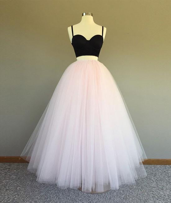 Sweetheart Neck Spaghetti Straps 2 Pieces Black Top Light Pink Long Prom Dress, Light Pink Formal Dress, Evening Dress