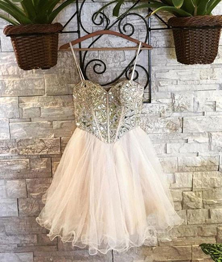 Sweetheart Neck Spaghetti Straps Tulle Champagne Homecoming Dresses, Champagne Short Prom Dresses, Graduation Dresses, Evening Dresses