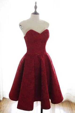 Sweetheart Neck Strapless Burgundy Lace Short Prom Dress Homecoming Dress, Open Back Lace Burgundy Formal Graduation Evening Dress