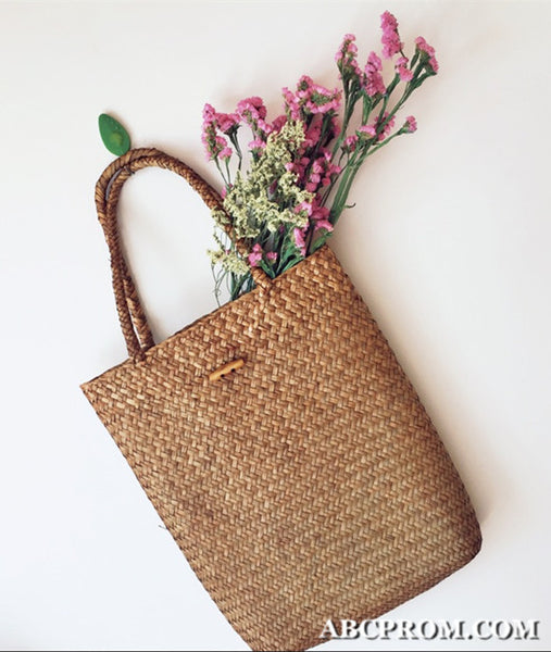 Handmade Beach Weave Bag, Simple Shoulder Bag, Weave Grass Handbag, Weave Grass Shoulder Bag