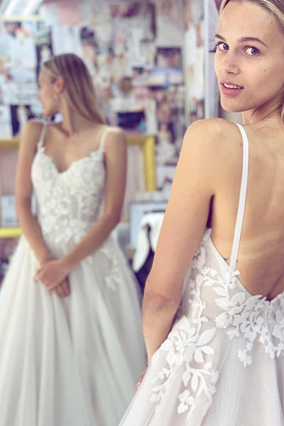 Thin Straps Backless White Lace Long Prom Wedding Dress, White Lace Formal Dress, White Evening Dress