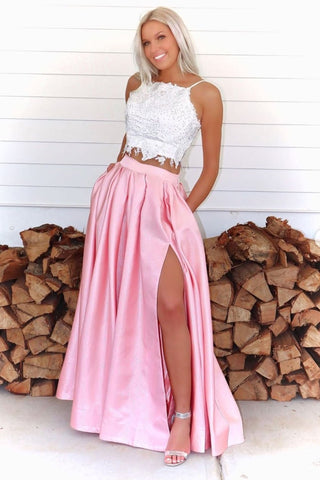 Two Pieces White Lace Top Pink Long Prom Dress with High Slit, 2 Pieces Pink Lace Formal Graduation Evening Dress