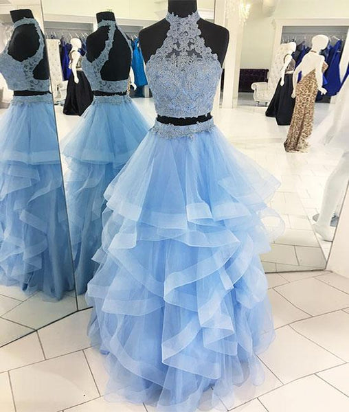 Two Pieces Blue Tulle Lace Long Prom Dress, Lace Formal Dress, Blue Evening Dress