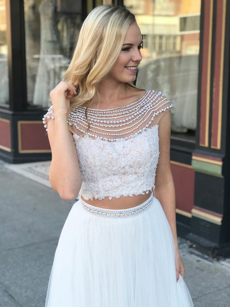 Two Pieces Cap Sleeve Round Neck Open Back Lace Beading Top White Tulle Long Prom Dresses, Two Pieces White Formal Dresses, White Evening Dresses