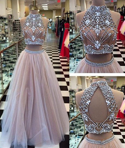 Two Pieces High-Neck Beaded Tulle Long Prom Dresses, Evening Dresses