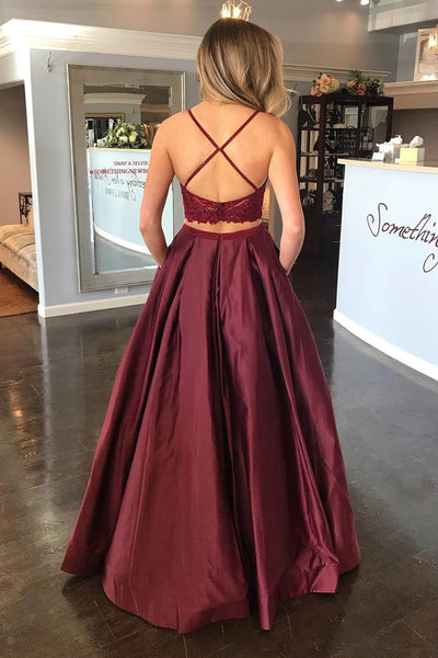 Two Pieces Lace Burgundy Long Prom Dress with Pocket, Burgundy Lace Formal Dress, Two Piece Burgundy Evening Dress