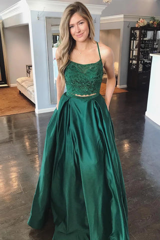 Two Pieces Lace Top Backless Green Prom Dress with Pocket, Two Pieces Lace Green Formal Dress, Two Pieces Green Lace Evening Dress