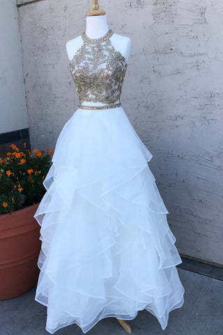 Two Pieces Lace White Tulle Long Prom Dresses, White Two Pieces Formal Dresses, Evening Dresses, Ball Gown