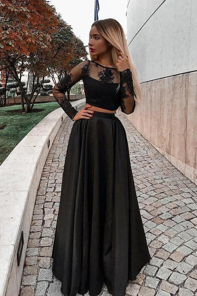Two Pieces Long Sleeves Lace Black Prom Dresses, 2 Piece Black Formal Dresses, Long Sleeve Black Lace Evening Dresses