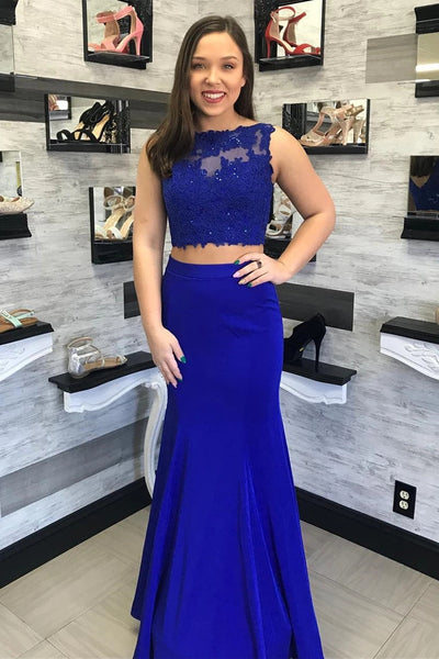 Two Pieces Mermaid Lace Royal Blue Long Prom Dress, Mermaid Lace Royal Blue Formal Dress, Royal Blue Lace Evening Dress