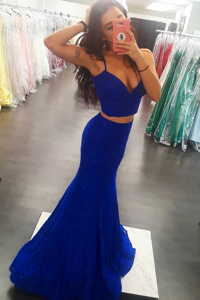 Two Pieces Mermaid Royal Blue Long Prom Dresses, Two Pieces Royal Blue Formal Dresses, Evening Dresses