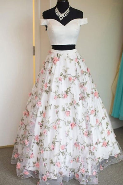 Two Pieces Off The Shoulder Lace Floral White Prom Dresses, Off Shoulder White Formal Dresses, Two Pieces White Evening Dresses