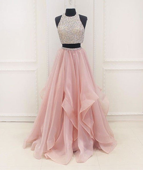 Two Pieces Round Neck Sequins Long Pink Prom Dresses, Pink Evening Dresses